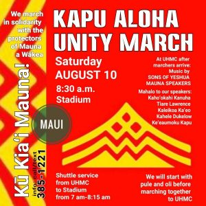 "Maui ""Kapu Aloha Unity March"" Planned on Saturday"