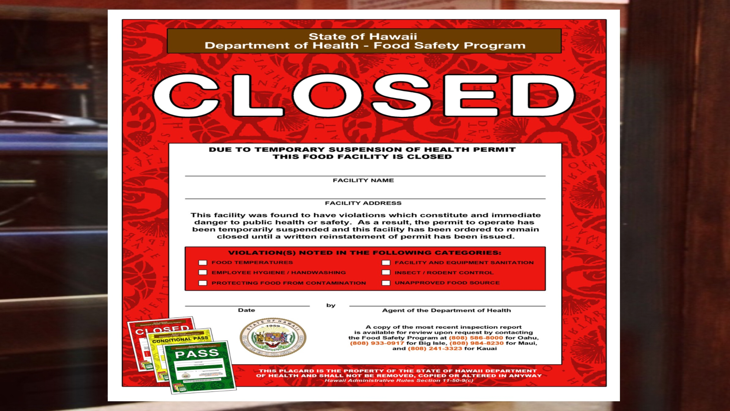 "Health Department Issues Red ""Closed"" Placard to ʻOhana Tacos on Maui"
