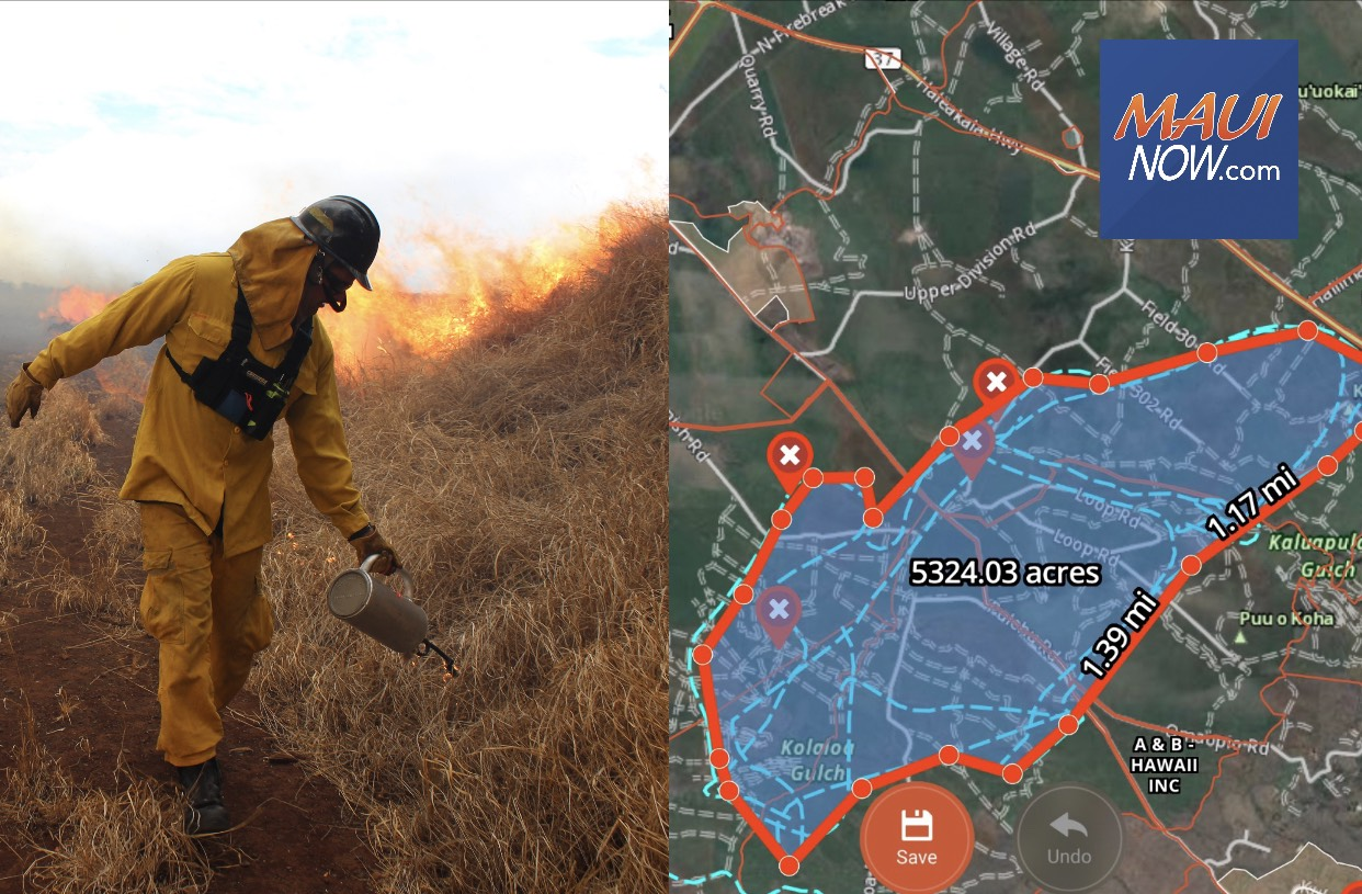 5300 Acres Burned, Fire Below Pukalani 80% Contained