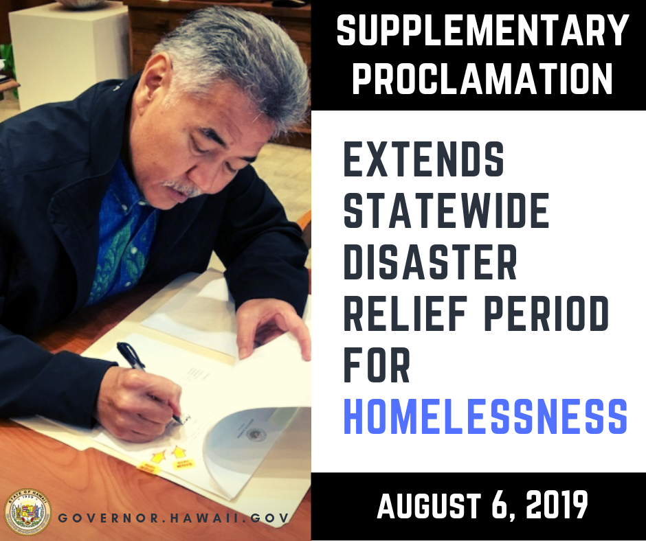 Relief Proclamations Extended for Kaua'i Flood and Homelessness