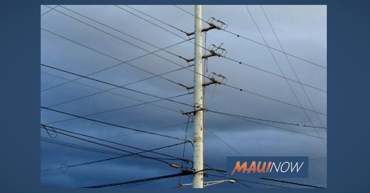 Aerial Power Line Inspections March 16-27 in Central & West Maui