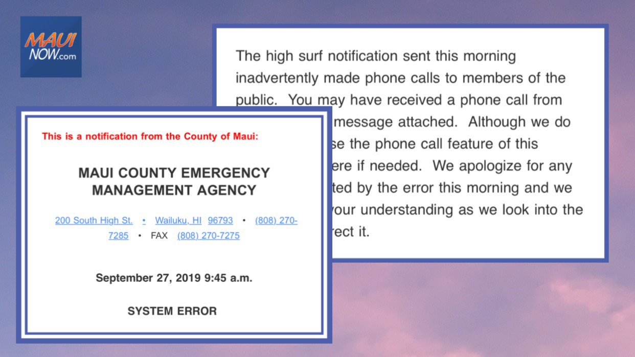 Maui County Phone Call System Error