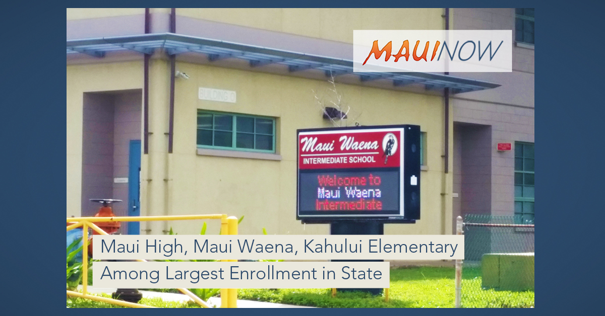 Maui Schools on List of Those With Largest Enrollment