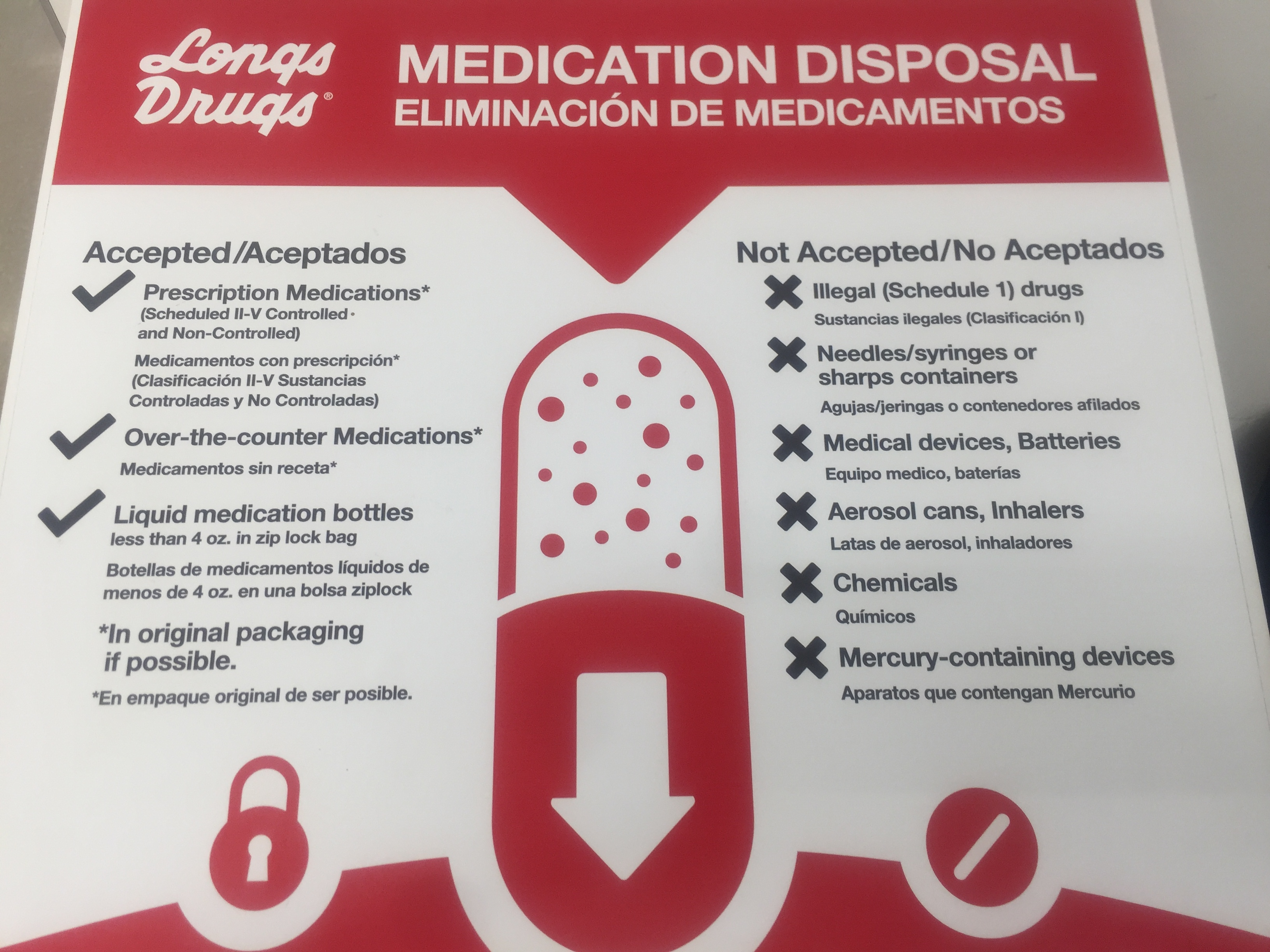 Medication Disposal Boxes Available at Three Longs Drugs Store Locations