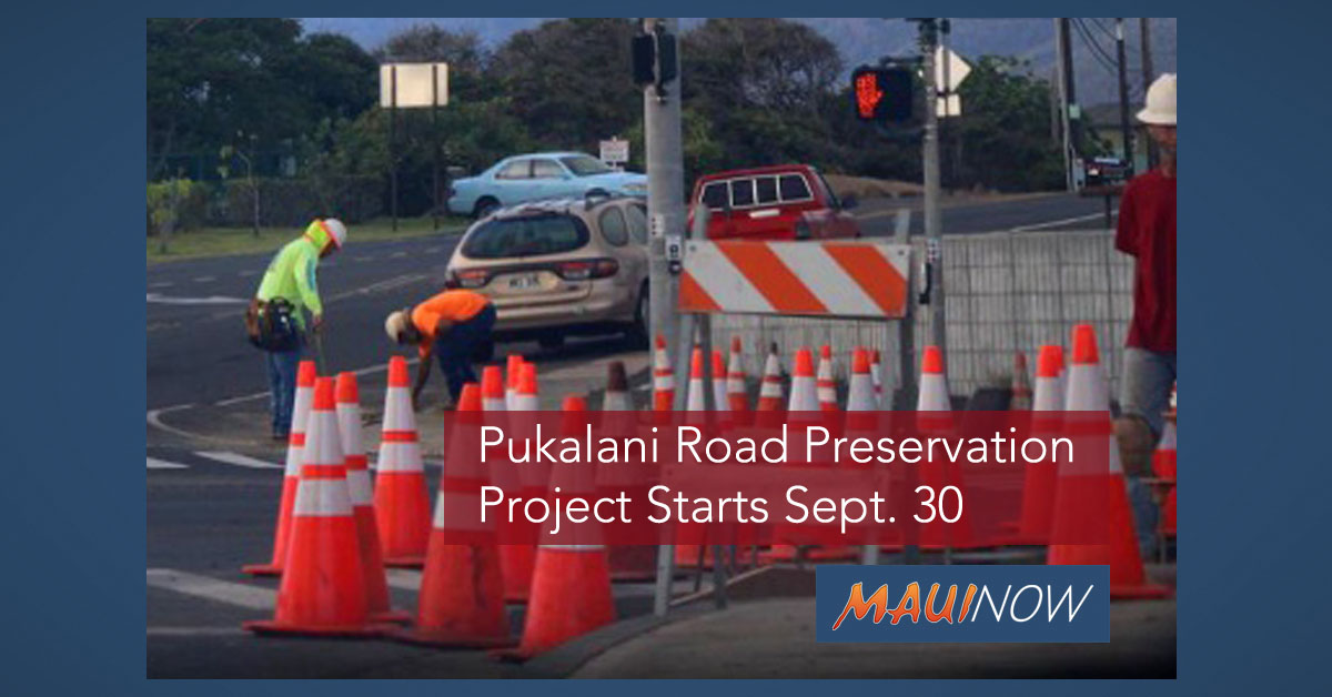 Pukalani Road Preservation Project Starts Sept. 30