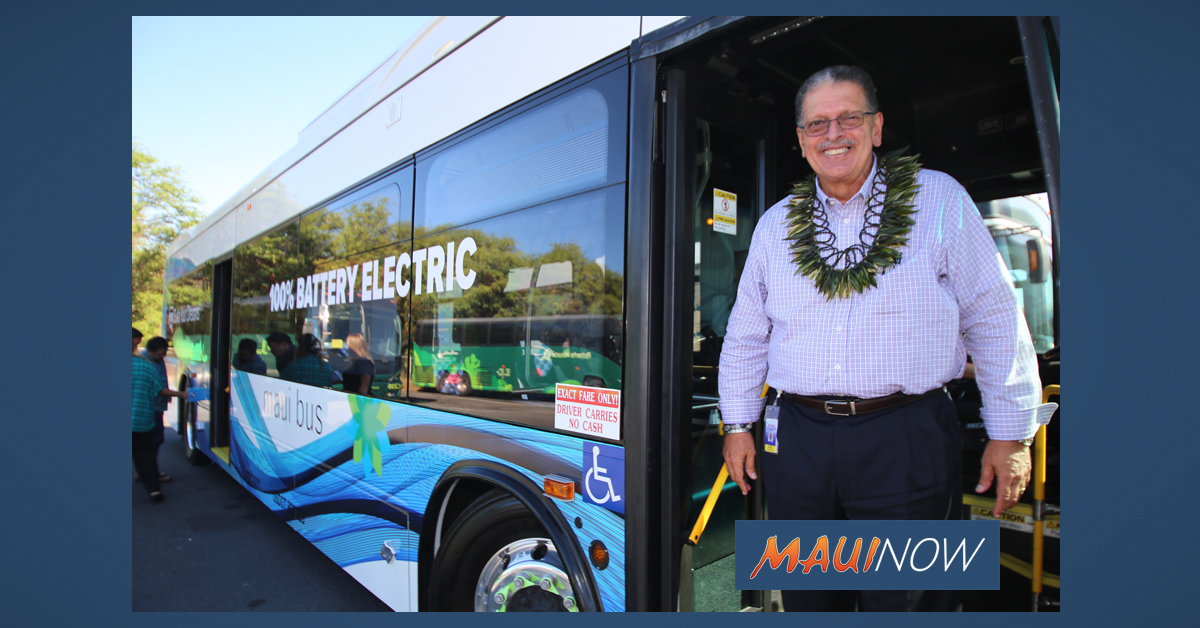 Maui County Unveils Its First 100% Electric Bus