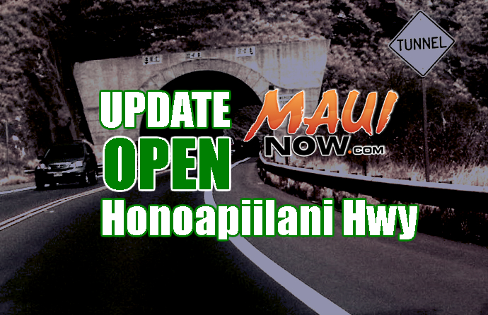 Honoapi'ilani OPEN, Intermittent Closures Possible Overnight Due to Fire