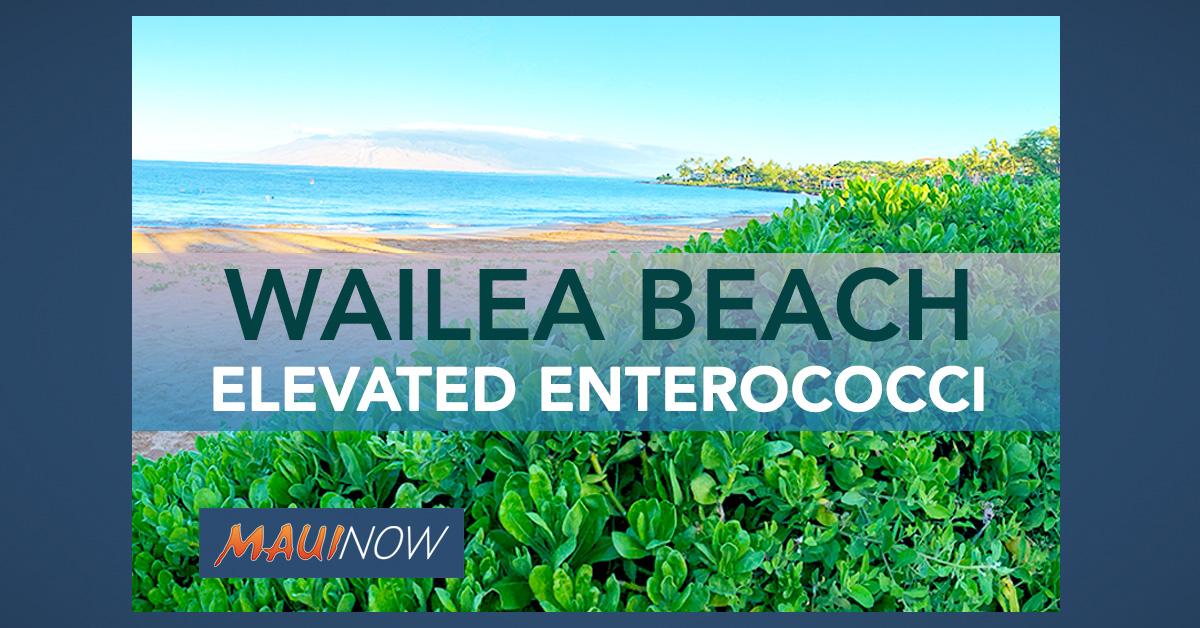 Update, Advisory Lifted: High Bacteria Count Advisory at Wailea Beach