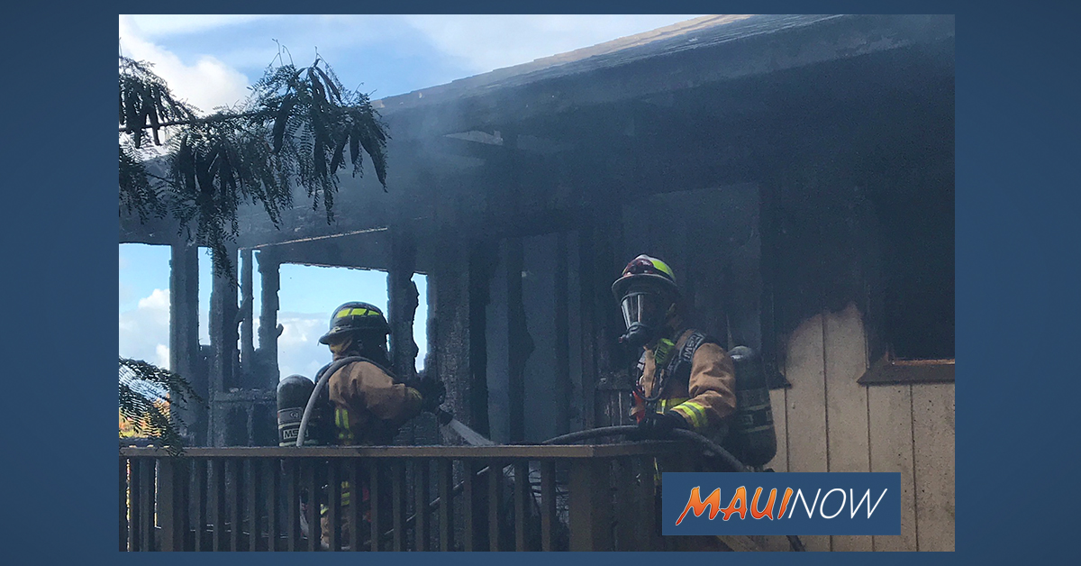 Seven Displaced by Structure Fire at Holowai Place Home in Wailuku