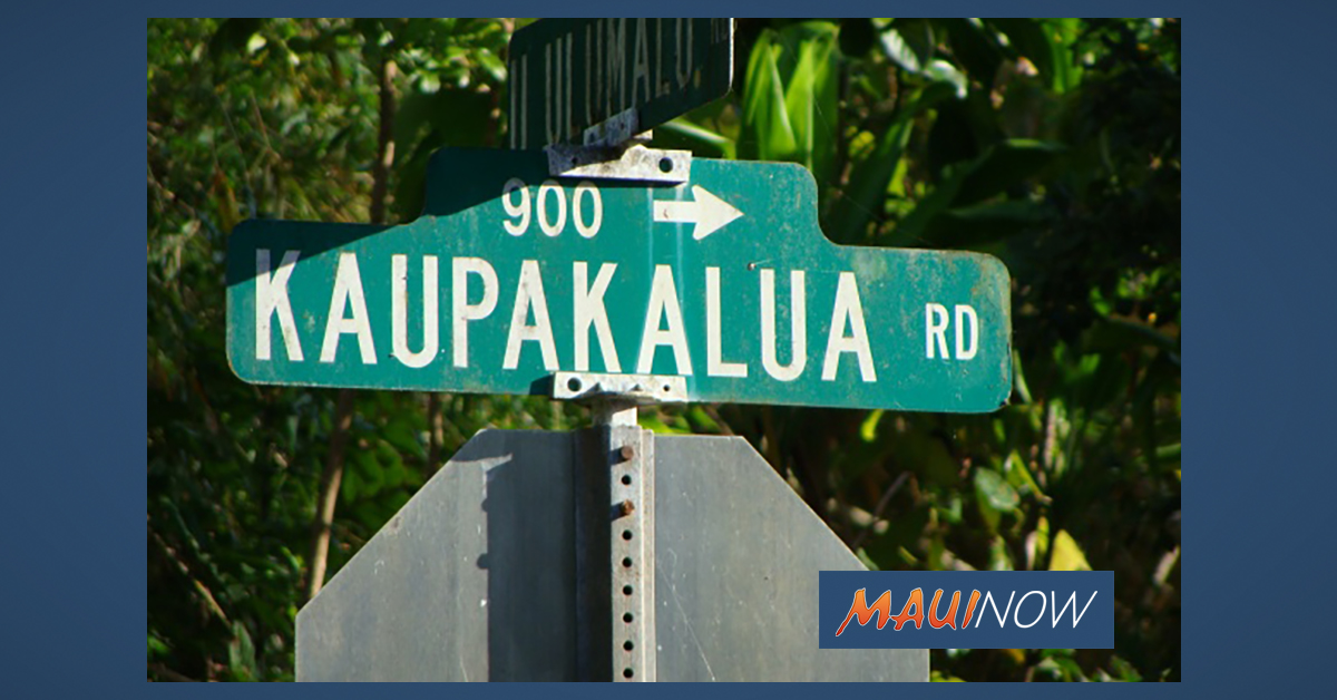 Portion of Kaupakalua Road to Close for Repaving Project, Jan. 16 and 23