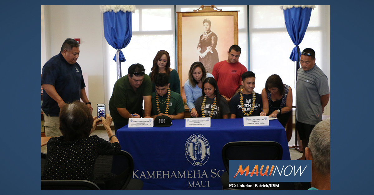 Three Kamehameha Maui Athletes Sign Letters of Intent