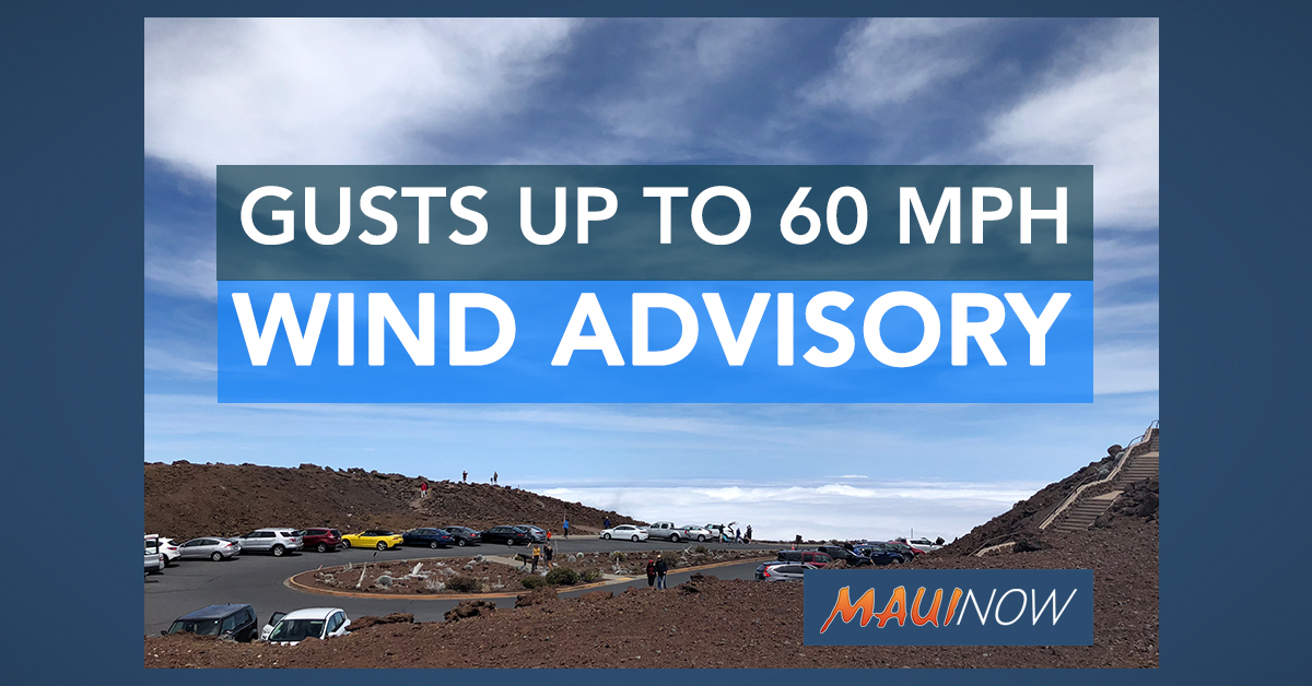 Winds Gusts up to 60 mph Forecast at Haleakalā, Maui