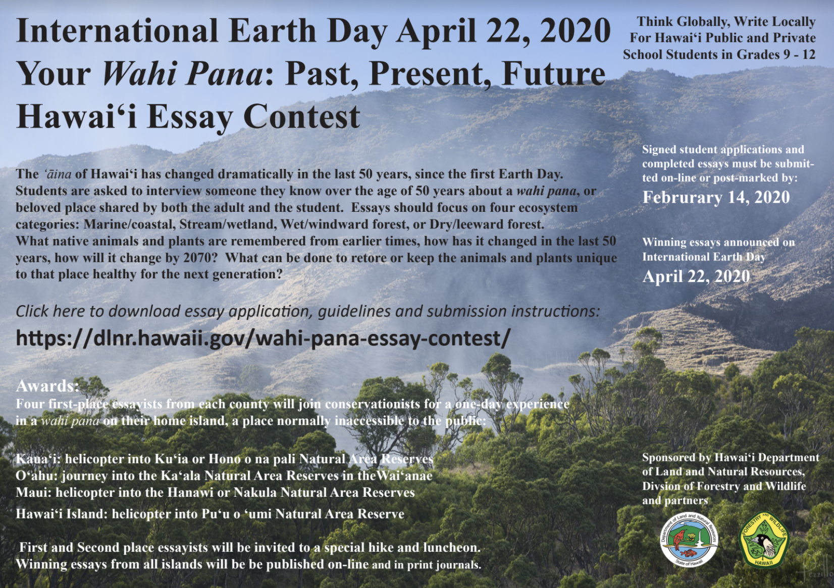 Wahi Pana Essay Contest for Hawai'i High School Students
