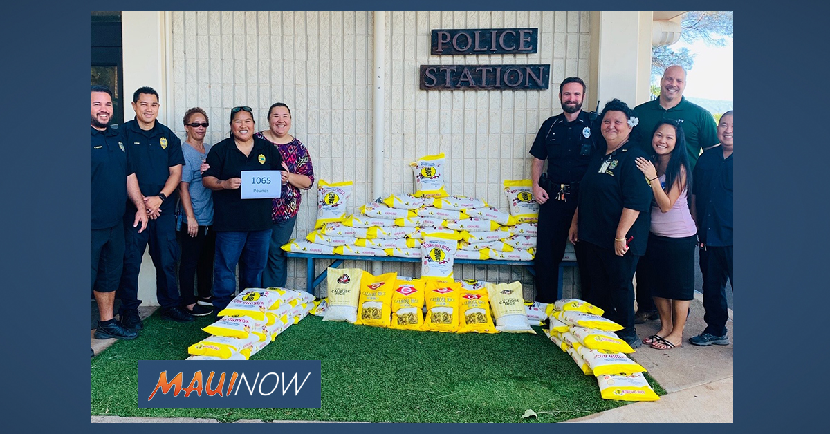 Maui Police Collect 2,617 Pounds of Rice and Food During Holiday Drive
