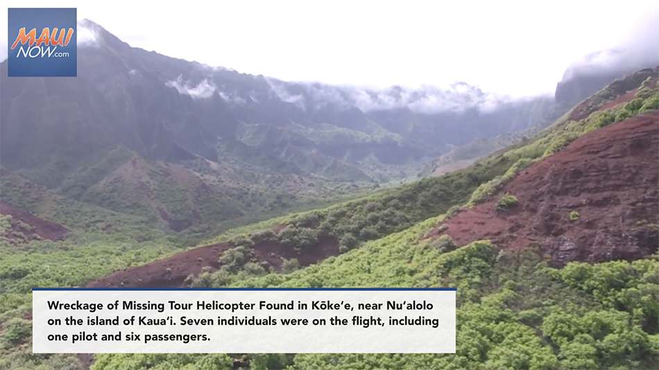 UPDATE: Six Sets of Remains Recovered from Tour Helicopter Wreckage in Kōke'e, Kaua'i