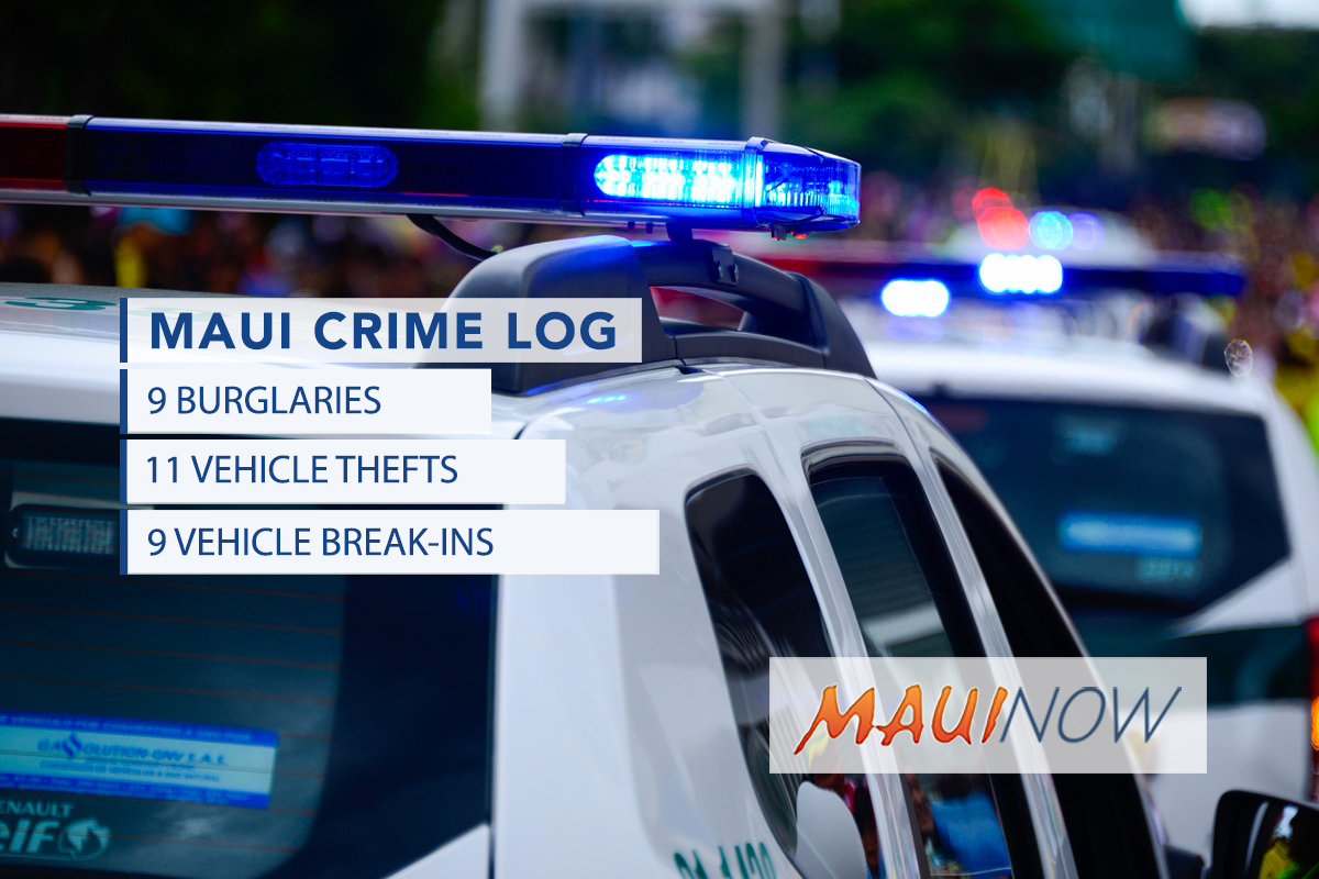 Maui Crime Jan. 12-Jan. 18: Burglaries, Break-ins, Thefts