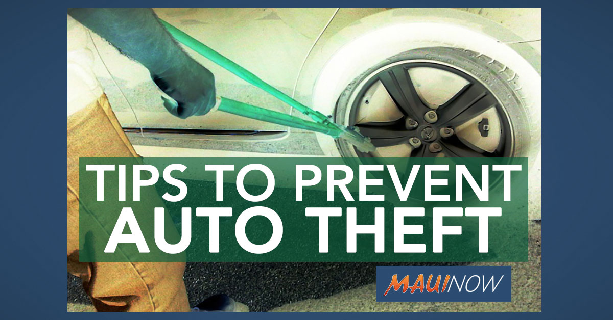 Maui Police Offer Tips to Prevent Auto Theft