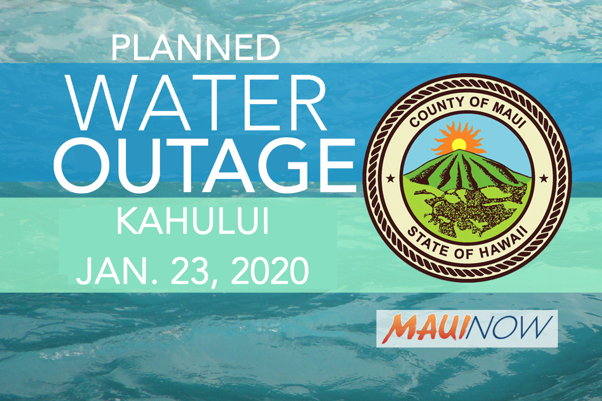 Water Tie-In to Interrupt Kahului Service, Jan. 23