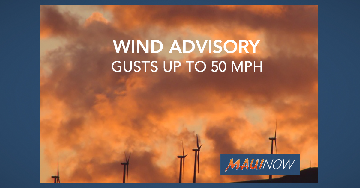 50 mph Gusts Forecast for Maui and Hawai'i Counties