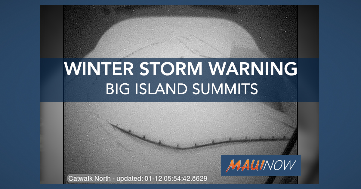 Four More Inches of Snow in Forecast for Big Island Summits