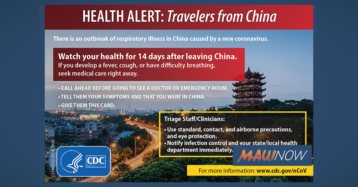 Hawai'i Health Department Prepares for 2019 Novel Coronavirus: Advising Against Travel to China