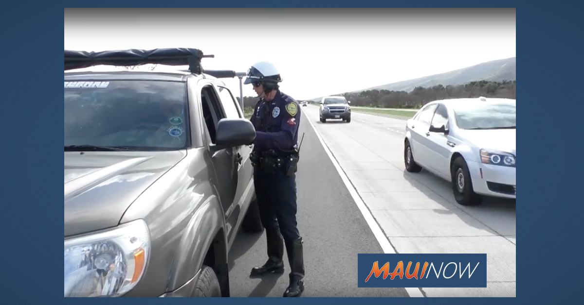 Maui Police Enforcement of Speed and Move Over Law This Week