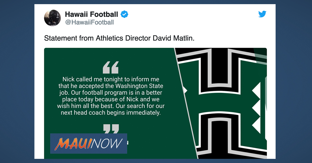 University of Hawai'i Football Coach Nick Rolovich to Leave for Washington State