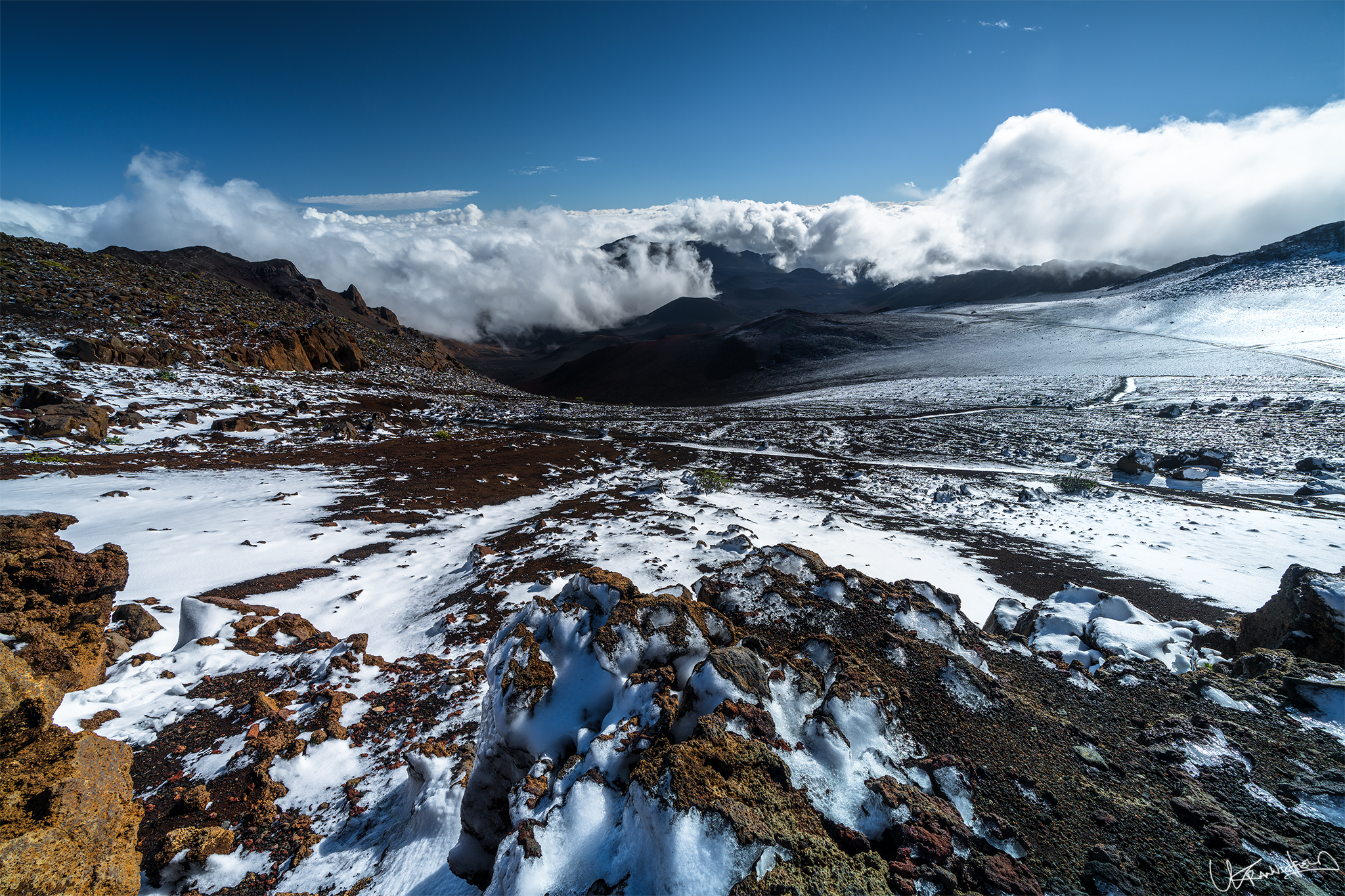 Snow Graces Haleakalā Summit on Maui