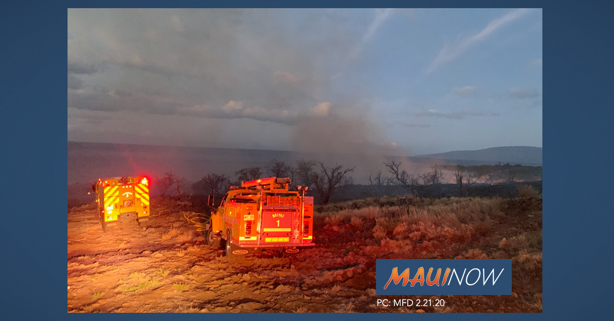 25 Acres Burned in Olowalu, Fire Mauka of Honoapi'ilani Hwy 100% Contained