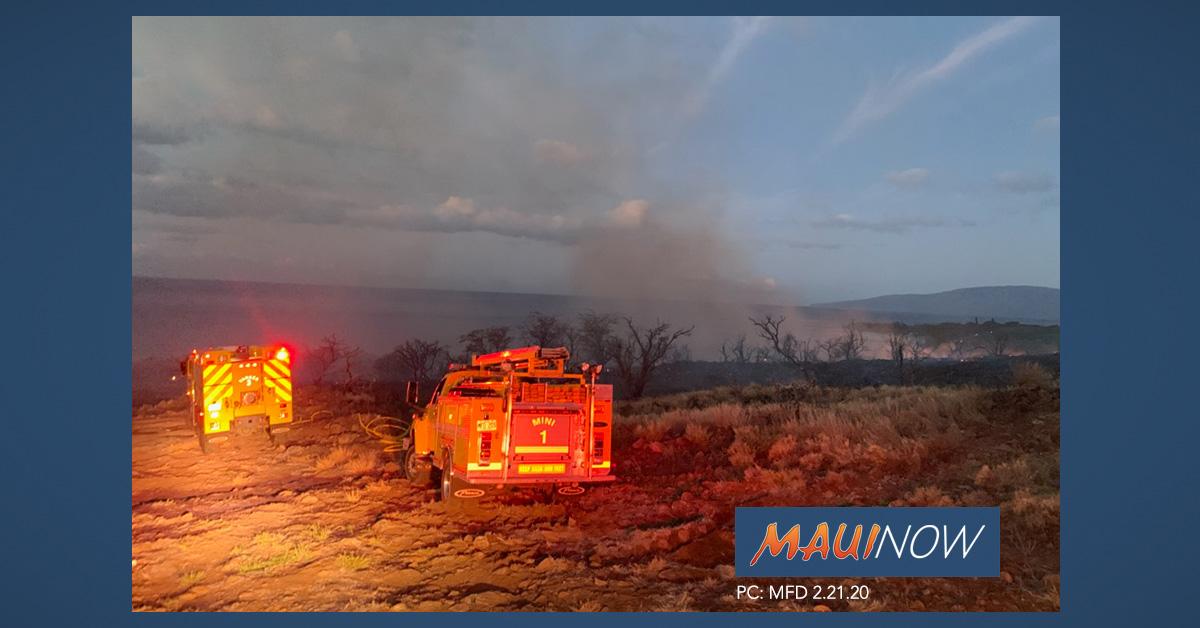 25 Acres Burned in Olowalu, Fire Mauka of Honoapi'ilani Hwy 100% Contained