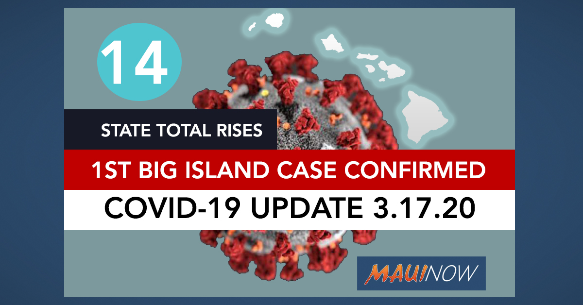 Hawai'i's Coronavirus Total Now 14: Includes Big Island's First and One More on Maui