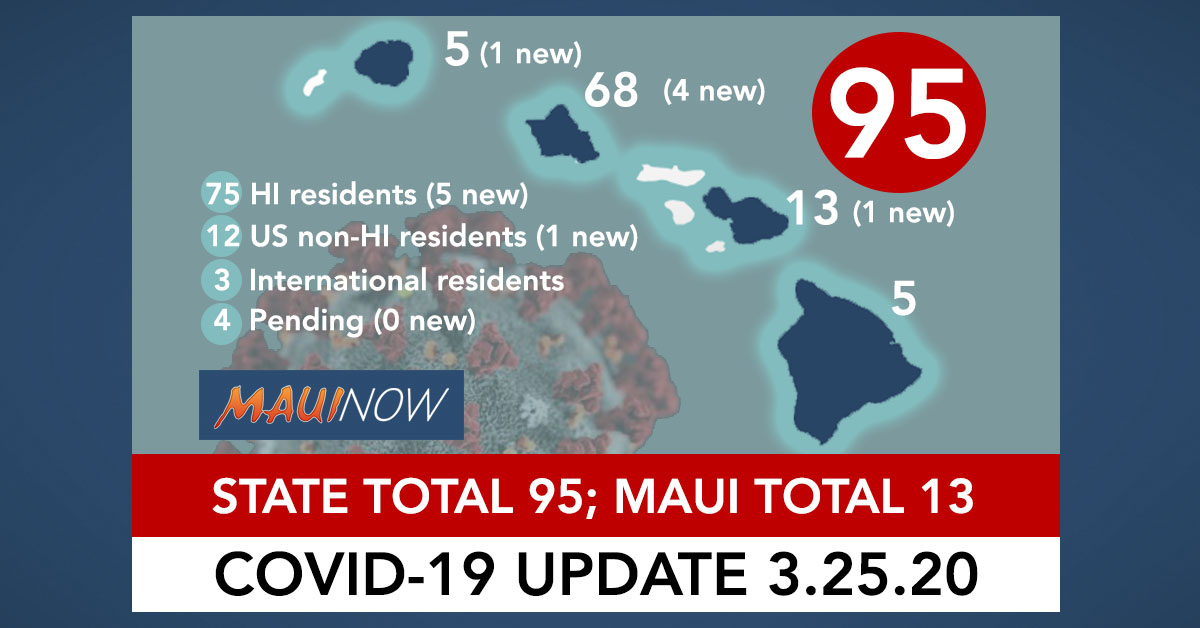 5 New Cases of COVID-19: Hawaii State Total 95
