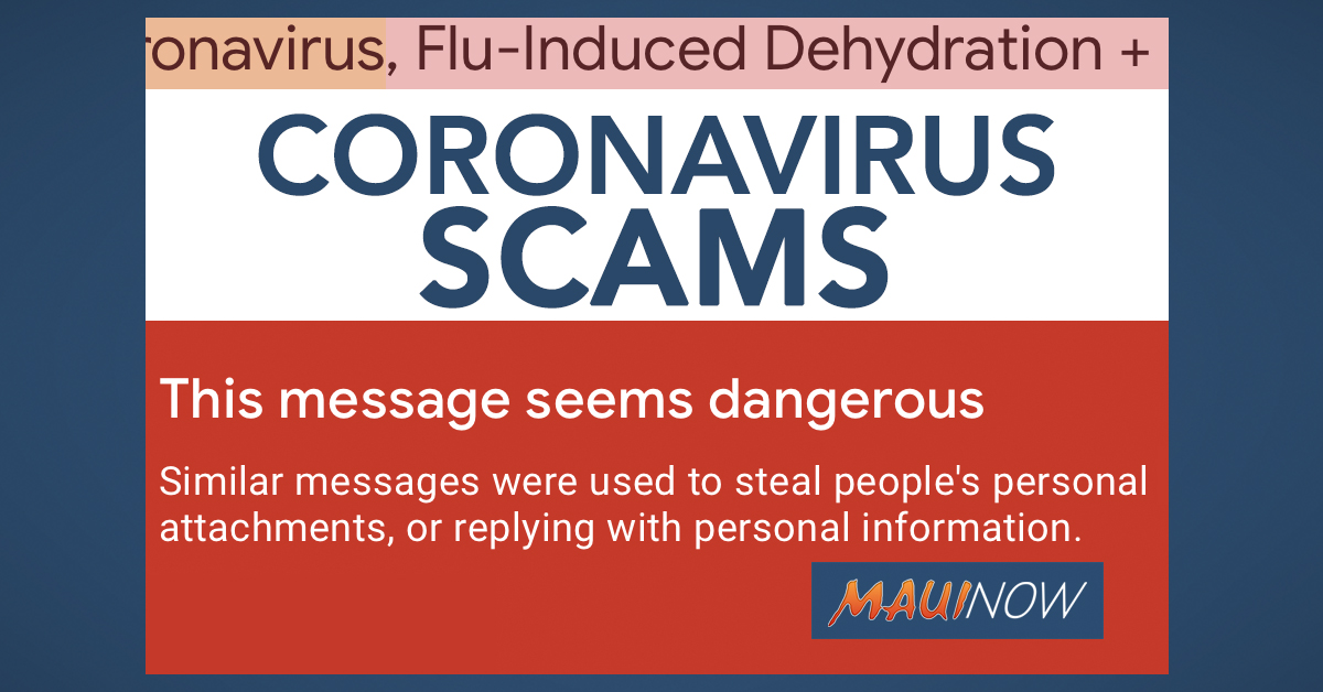 Maui Public Warned of Coronavirus Themed Phishing Emails and Scams