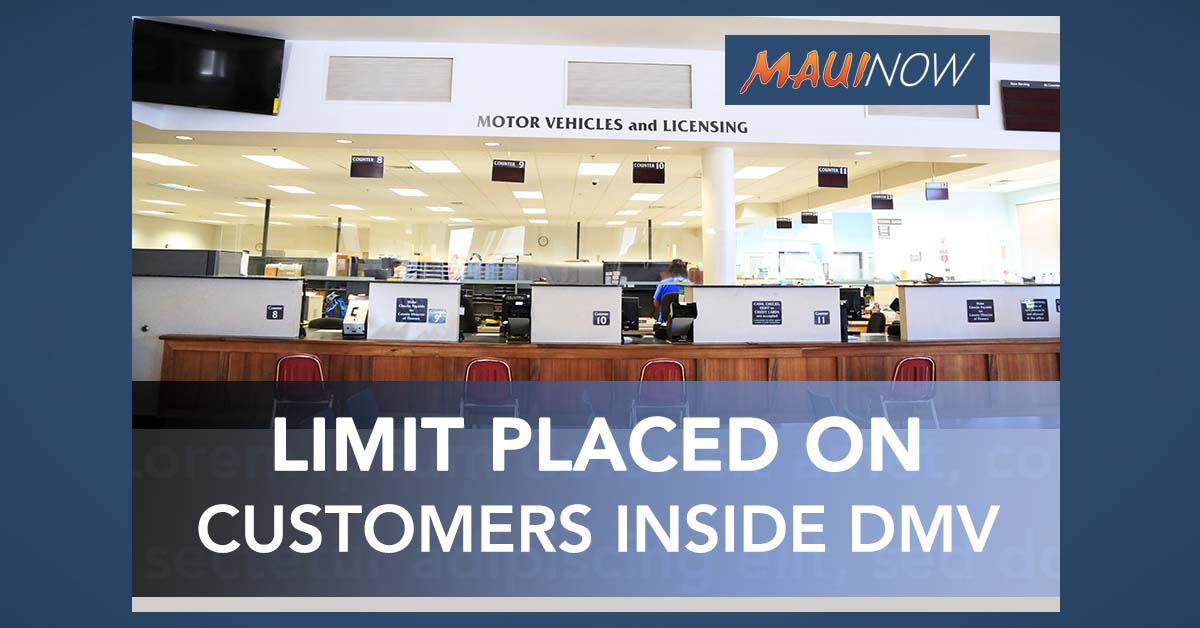 Maui DMV Limiting Customers Inside, Waiving Online Convenience Renewal Fee