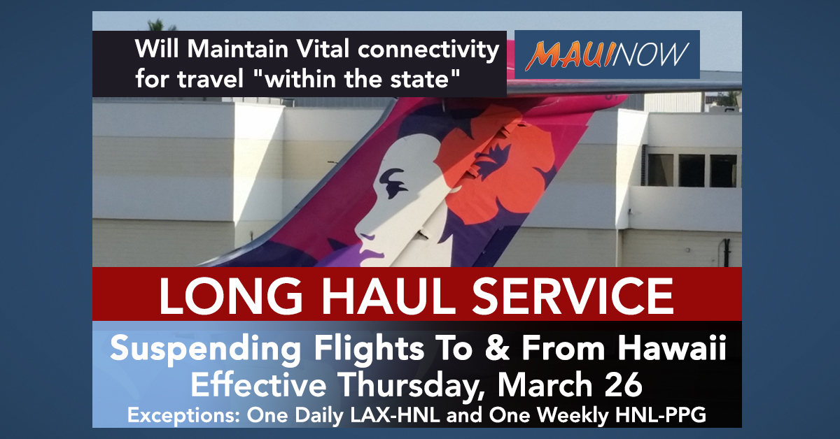 Hawaiian Airlines Begins Suspending Long Haul Flights to and From Hawai'i, Effective Thursday