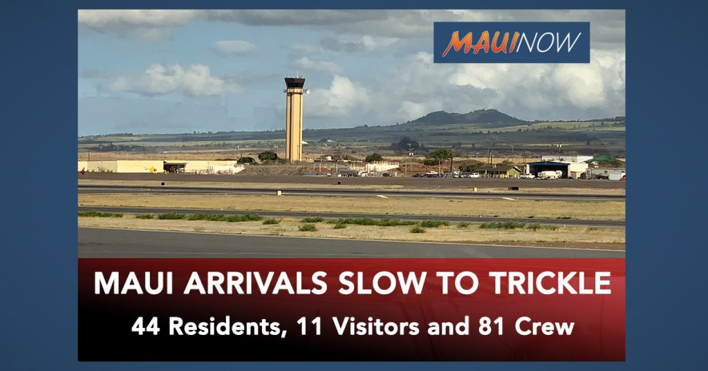 Maui Now: Maui Arrivals By Air Slow to Trickle: 44 Residents, 11 Visitors and 81 Crew Members