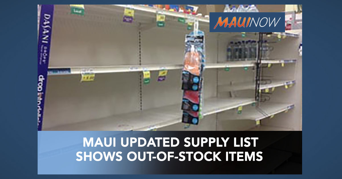 Maui Police Updated Supply List Shows Out of Stock Items