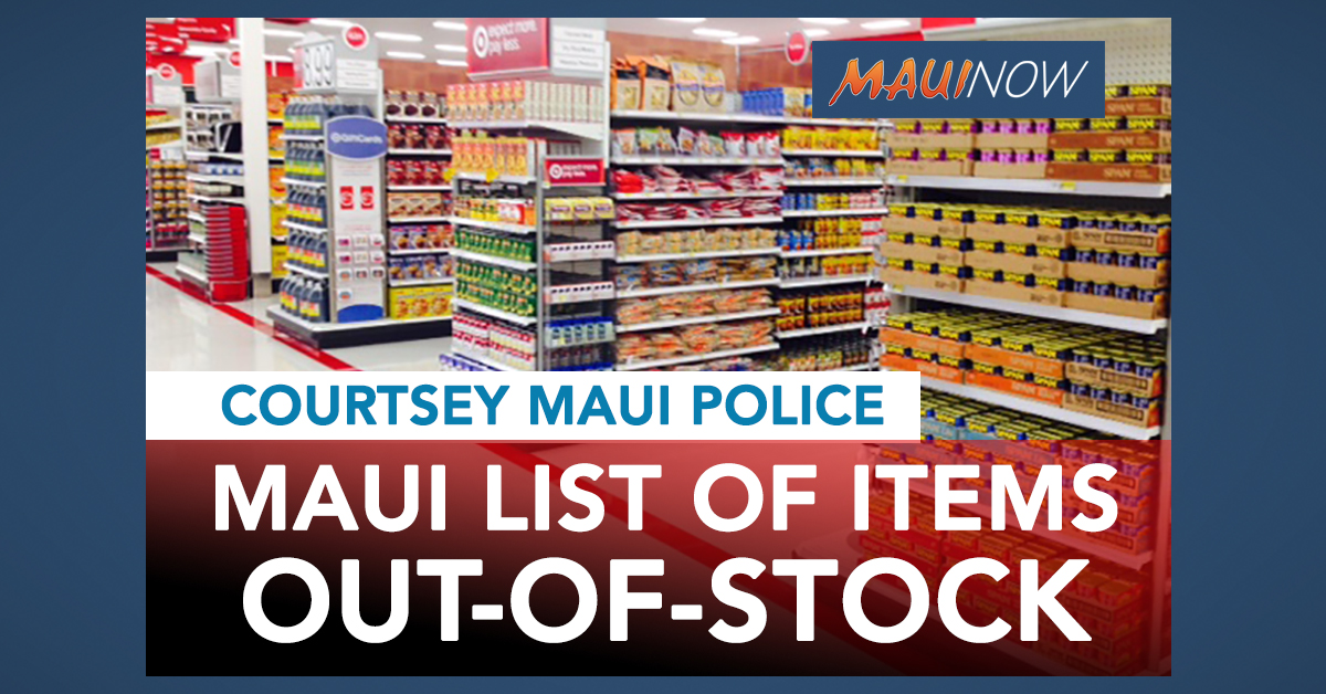 List of Out-of-Stock Items at Maui Stores as of 9 a.m. on Friday, March 27