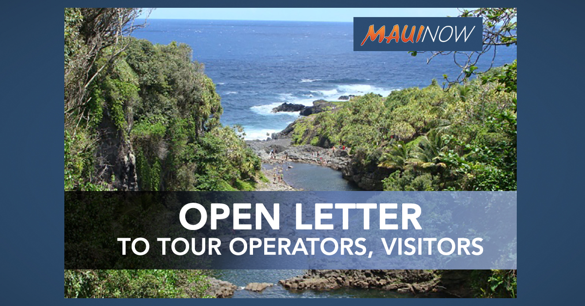 Rep. DeCoite: Open Letter to Visitors, Tourist and Tour Operators In Rural Maui