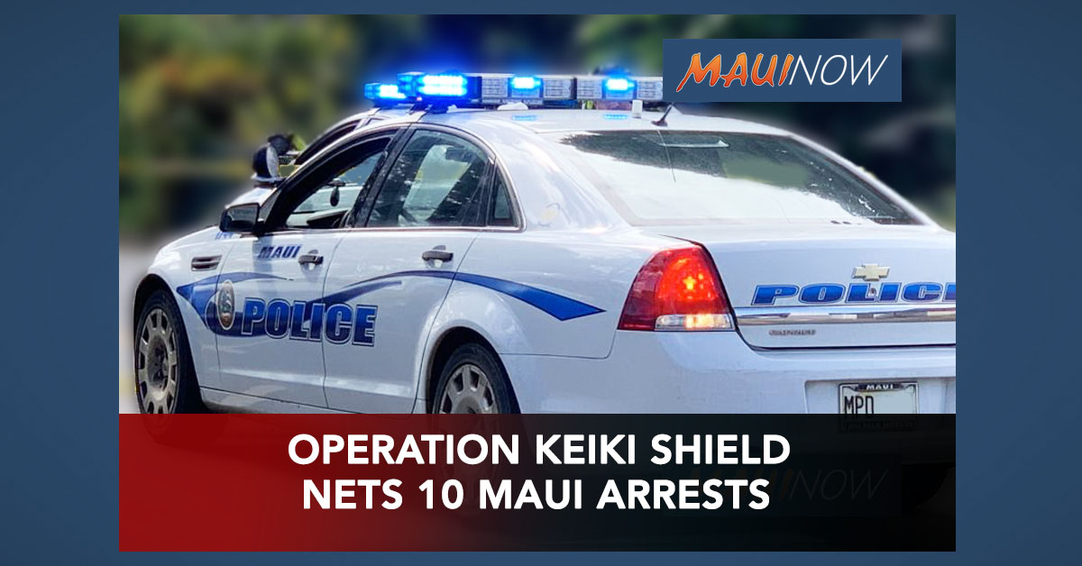 "10 Maui Men Arrested as Part of ""Operation Keiki Shield 6"""