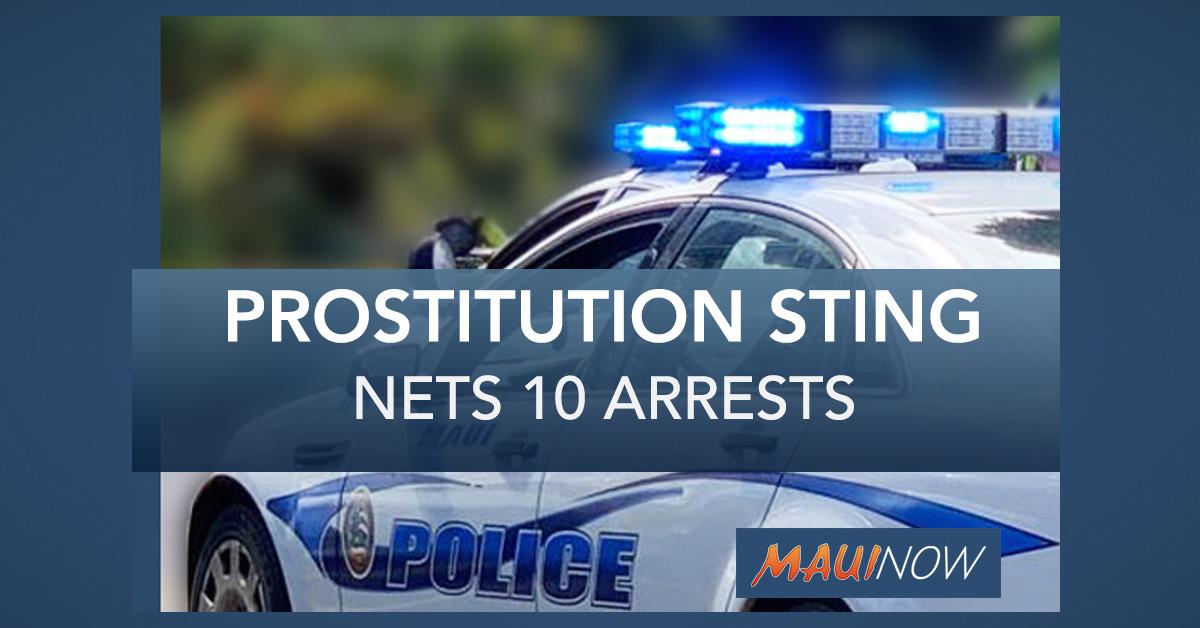 Maui Reverse Prostitution Sting Nets 10 Arrests