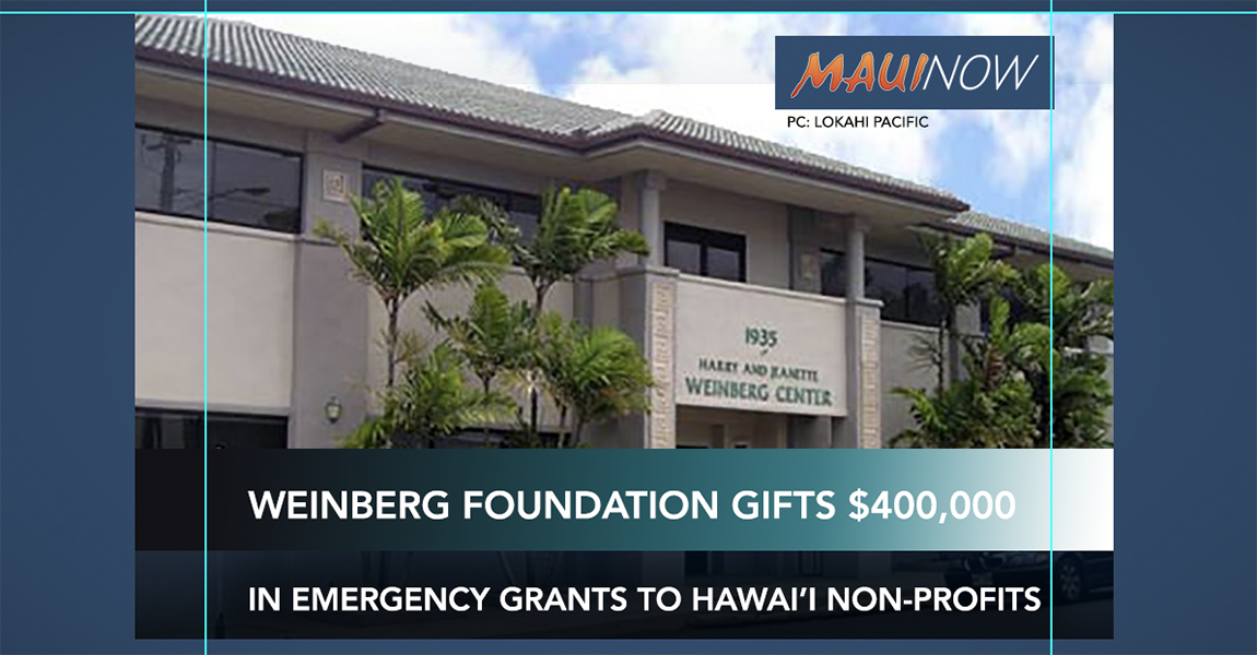 Weinberg Foundation Gifts $400,000 in Emergency Grants to Hawai'i Nonprofits