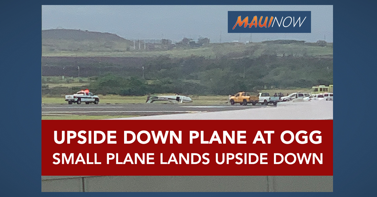 Small Plane Upside Down at Kahului Airport, Maui