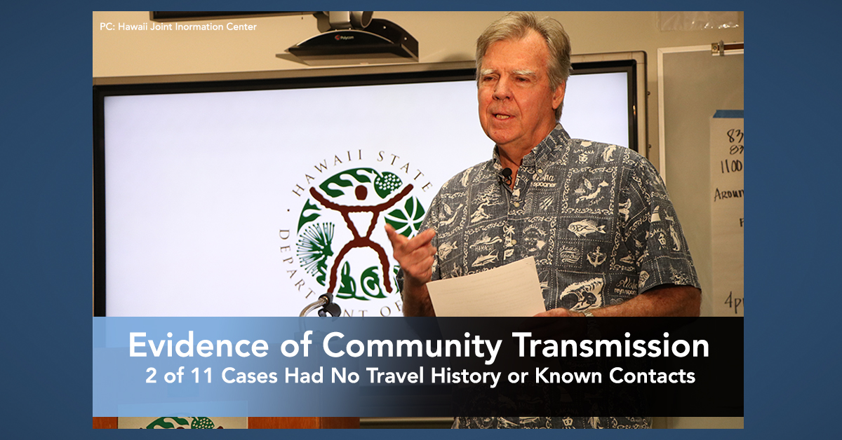 Evidence of Community Transmission has Begun in Hawai'i