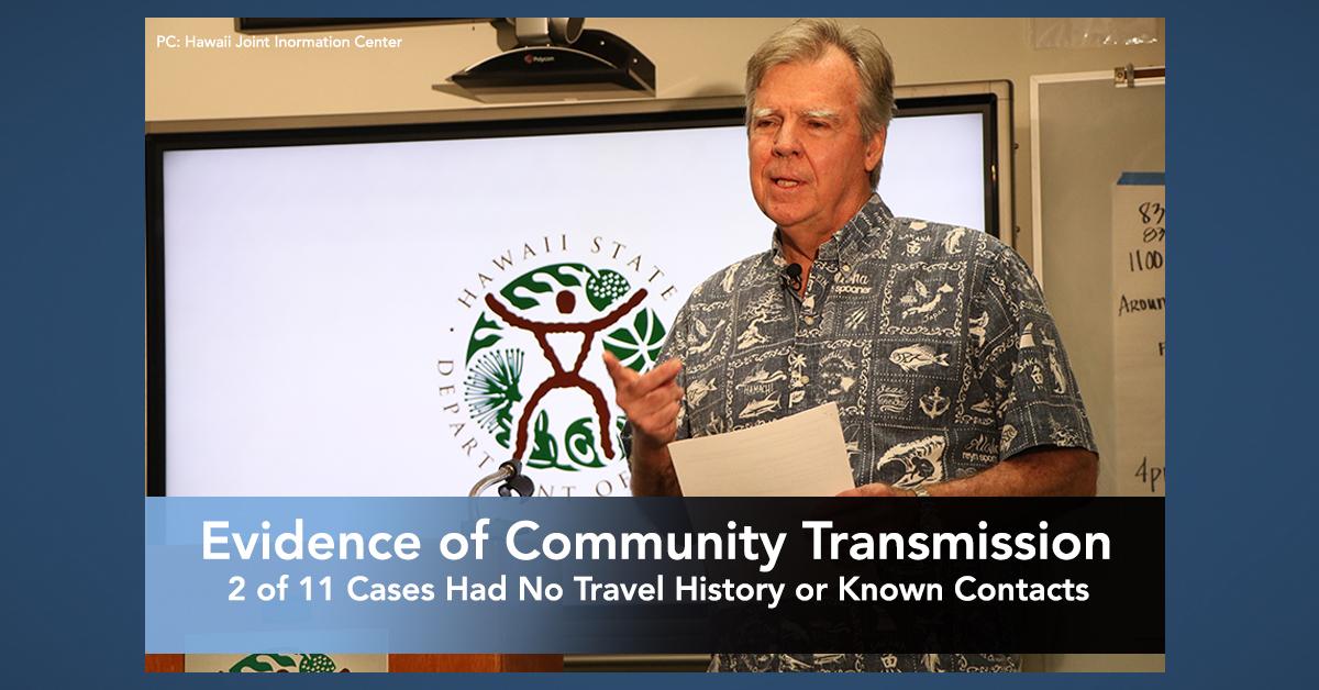 Evidence of Community Transmission has Begun in Hawai'i
