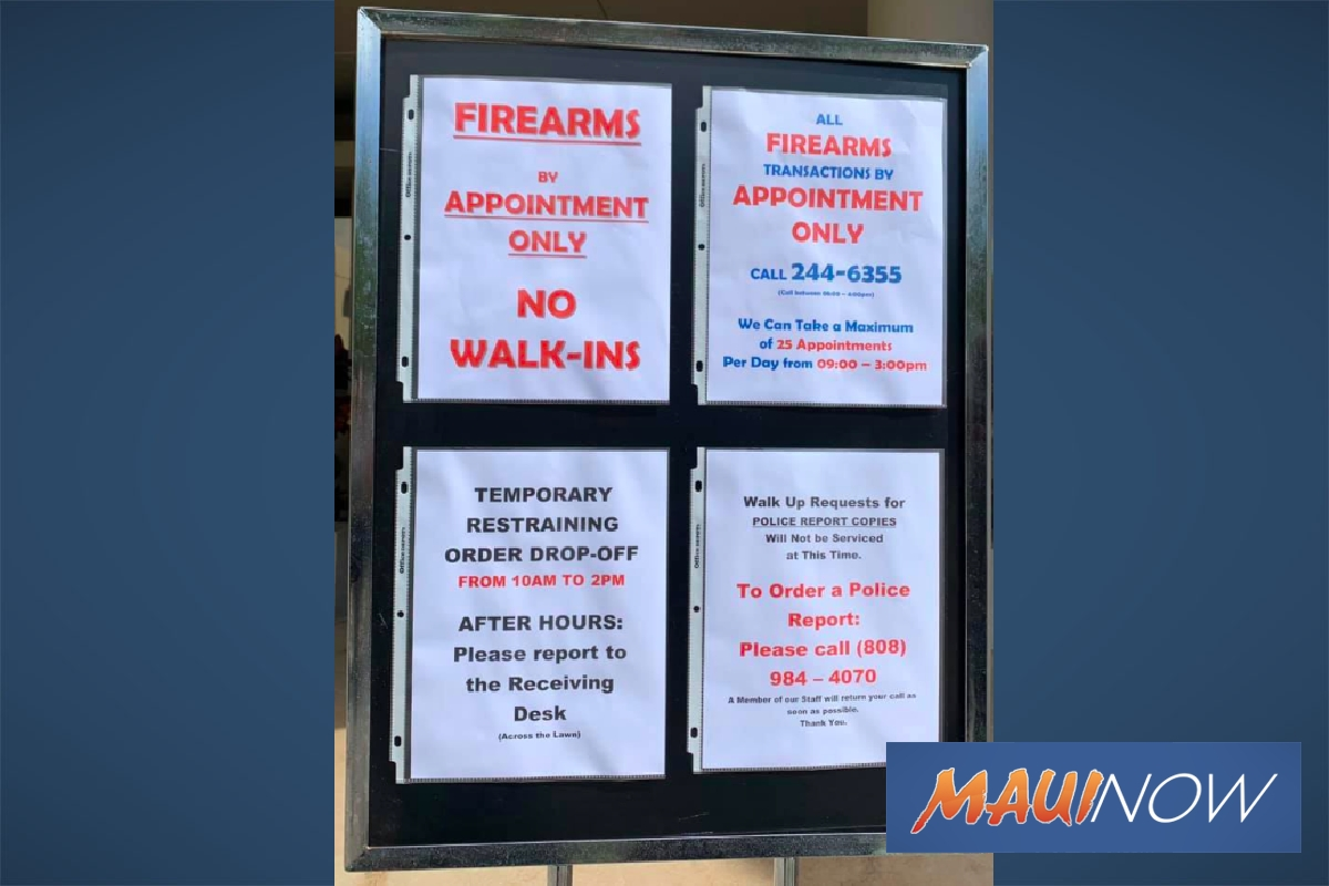 Appointments Now Required For Firearms Registration