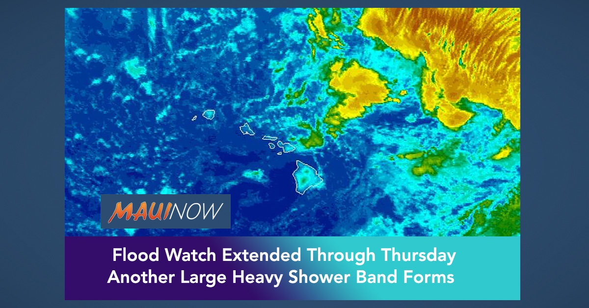 Another Large Shower Band Forms, Flood Watch Extended Through Thursday