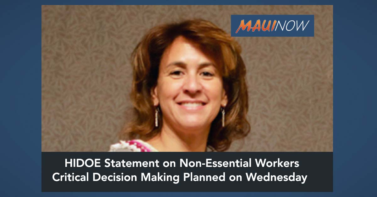 "HIDOE Statement re: ""Non-Essential"" State Employees"