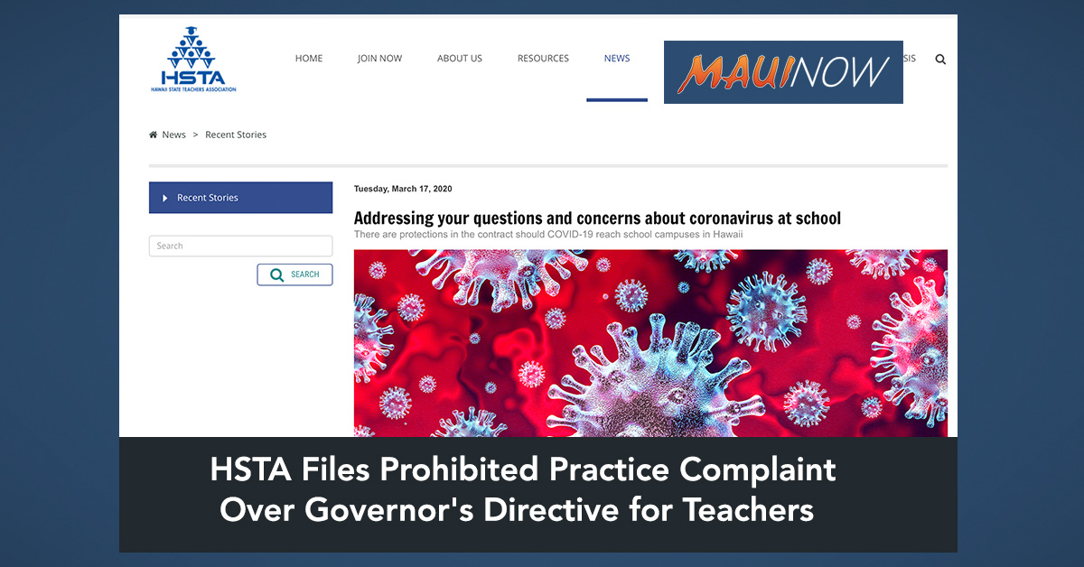 HSTA Files Prohibited Practice Complaint Over Governor's Directive for Teachers