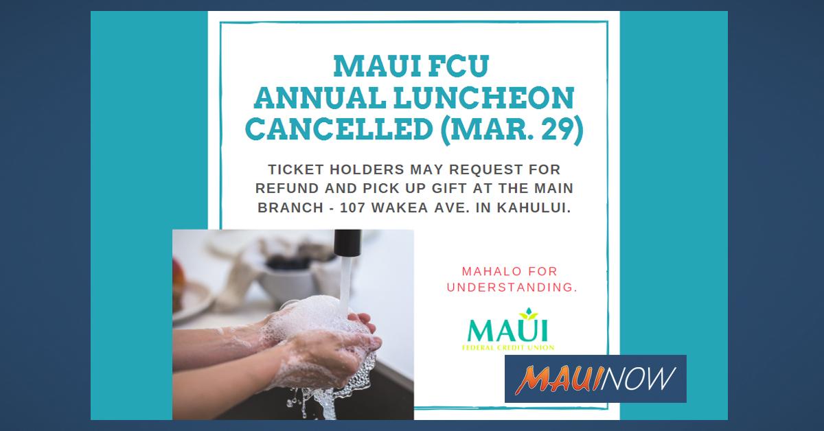 Maui FCU Annual Luncheon Cancelled to Help Prevent Coronavirus Spread
